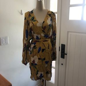 Olivaceous yellow floral wraparound dress